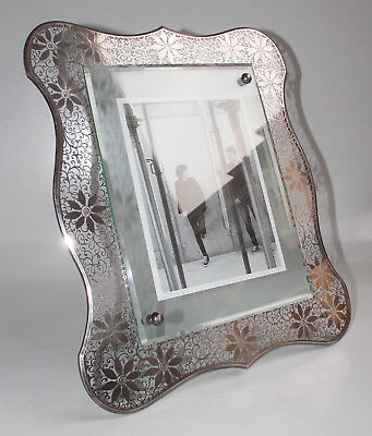 Fontana Arte, A Cut Crystal Photo-Frame Decorated With Silver Flowers, C. 1940