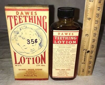 Antique Dawes Teething Lotion Baby Medicine Dawes Drug Paducah Ky Bottle Box Old