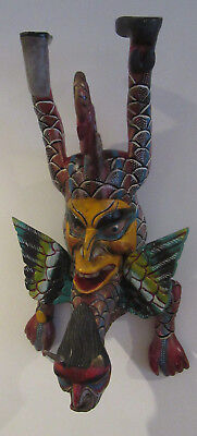 Stunning Vintage Mexican Hand Carved Wood Horn Winged Dragon/Face Folk Art Mask