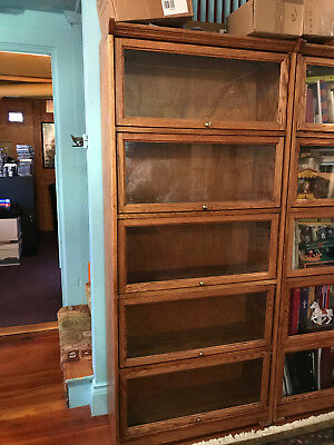 Barrister Lawyer Golden Oak Bookcase with 5 shelves and cabinet glass doors