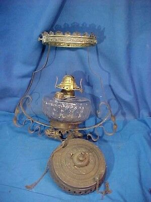 19thc VICTORIAN era BRASS HANGING OIL LAMP w Glass FONT + Motor -No Shade