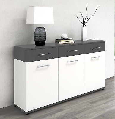 vicco sideboard 190cm wei hochglanz kommode anrichte wohnzimmerschrank eiche eur 169 90. Black Bedroom Furniture Sets. Home Design Ideas