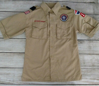 Webelos Cub Scout Boy Scout Tan Shirt With Patches Sz Youth Med. Texas Oklahoma