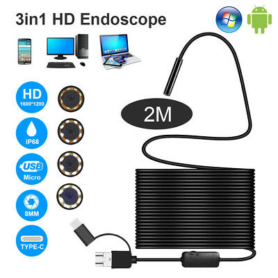 Upgraded 2M 3 in 1 Rigid Endoscope USB C Micro USB Inspection Camera 【1200P】8mm