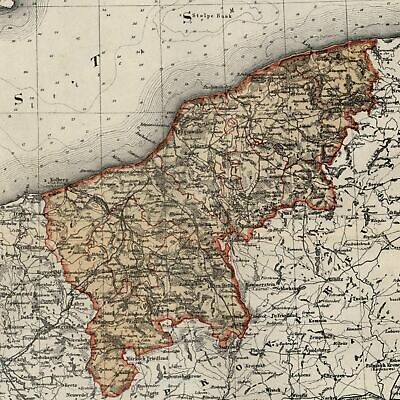 Pomerania Prussian Germany Ost See 1867 Meyer small old detailed map