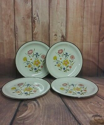 Kanney Stoneware Spring Flower Dinner Plates Set of 4