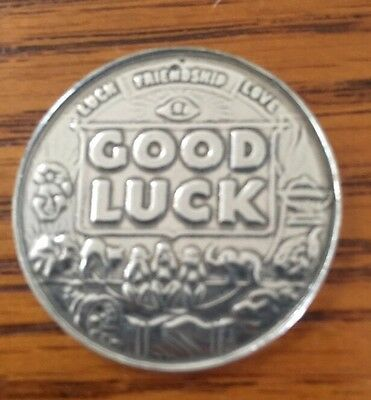 "Good Luck Pocket Coin Lucky Charm Mojo ""Carry This Coin"" Silver-tone Pewter"