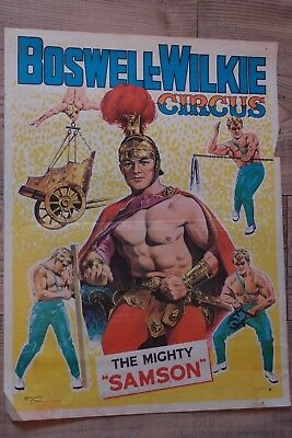 Circus Plakat  Boswell-Wilkie The Mighty Samson Orginal