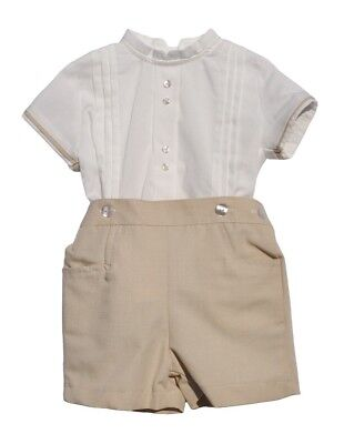 Spanish Baby Boys White Shirt & Beige Short Set 12m
