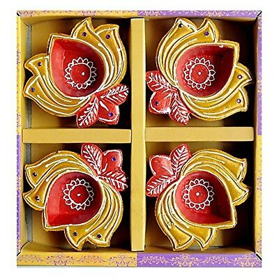 Traditional Multicoloured Lotus Shaped Diwali Diya Gold & Red (Pack of 4) - E...