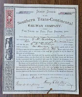SOUTHERN TRANS-CONTINENTAL Railway Co. Stock Certificate - 1870 - Texas!