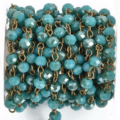 13ft Turquoise Teal Blue Crystal Rosary Chain, bronze wire, 6mm matte fch0804b