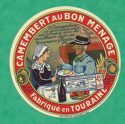INDRE ETIQUETTE CHINON CAMEMBERT bon menage TOURAINE CHEMINEE COUPLE