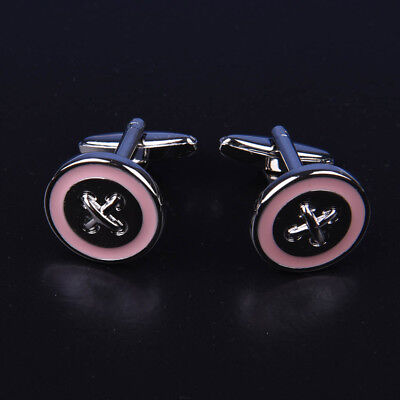 Pink Round Button Men's Cuff Links Sexy Luxury Fashion Silver Jewelry Cufflinks