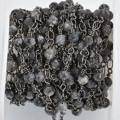 3ft Black LABRADORITE GEMSTONE Rosary Chain, gunmetal, 4mm round fch0802a