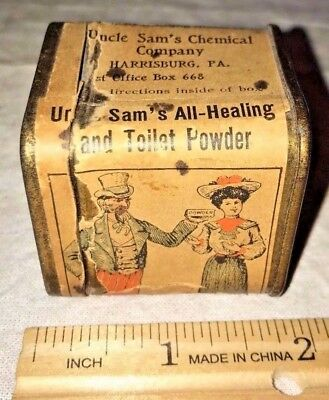 Antique Uncle Sam All Healing Powder Medicine Harrisburg Pa Tin Apothecary Can