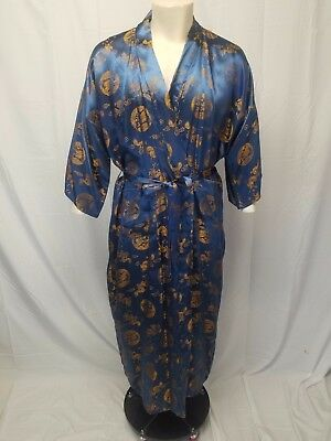 Mens Vtg DACHUNGHWA Chinese Dragons Robe Blue & Gold Medium/Large - AS IS