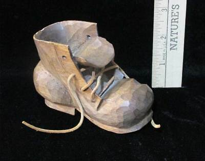 Carved Wooden Shoe Boot Figurine Hand Crafted Leather Shoe String Strap FMA Sign