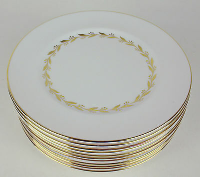 11 x Salad Plates Shelley Golden Laurel #14031 gold leaves vintage England