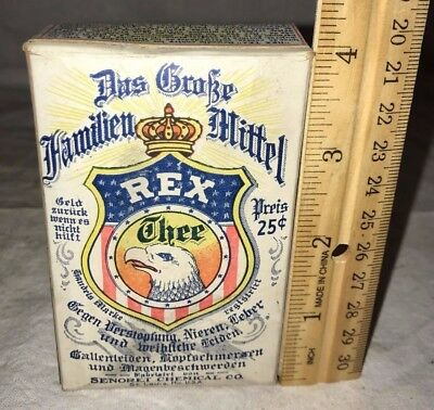 Antique Rex Tea Family Remedy Medicine Unopened Box Patriotic Eagle St Louis Mo