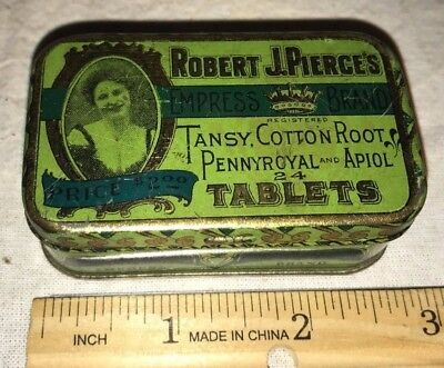 Antique Pierce Tansy Root Tablet Pill Female Remedy Medicine Tin Litho Drug Can