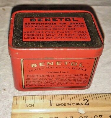 Antique Benetol Medicine Suppository For Women Tin Litho Can Minneapolis Mn Drug