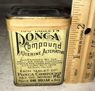 Antique Unopened Ponca Female Uterine Remedy Medicine Tin Litho Can St Louis Mo