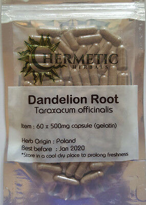 Dandelion Root Capsules 100 x 500mg - Liver ,Kidneys , Digestion, Immune Booster