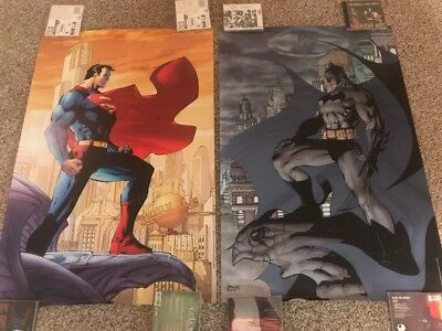 Batman Superman Poster Lot Jim Lee DC Original 2005 Justice League Oop Hush