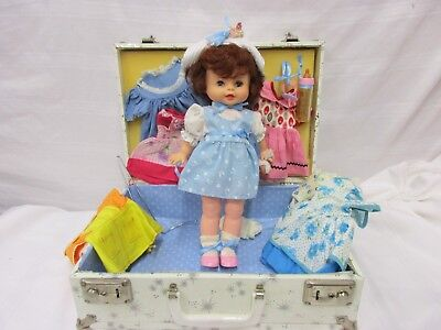 Doll with case and 7 dress set  pink blue yellow white flowers hat baby bottle