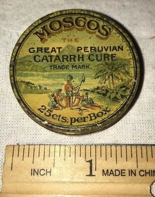 Antique Moscos Catarrh Cure Tin Litho Nose Cold Medicine Can Natives Palm Trees