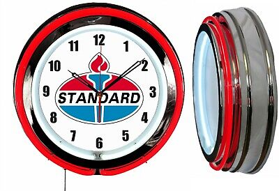 "Standard Oil Gas 1970's Logo 19"" Double Neon Clock Red Neon Chrome Finish"