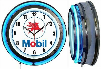 "Mobil Gas and Oil 19"" Double Neon Clock Blue Neon Chrome Finish"