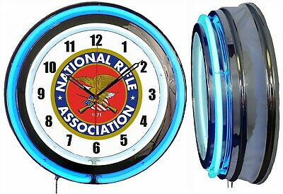 "NRA National Rifle Association 19"" Double Neon Clock BLUE Neon Chrome Finish"