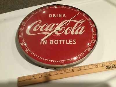 "Vintage 1950's Glass Face Coca Cola 12"" Thermometer In working condition"