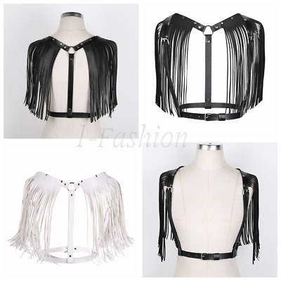 Sexy Women Lady Leather Tassel Body Chest Harness Punk Goth Adjustable Belt