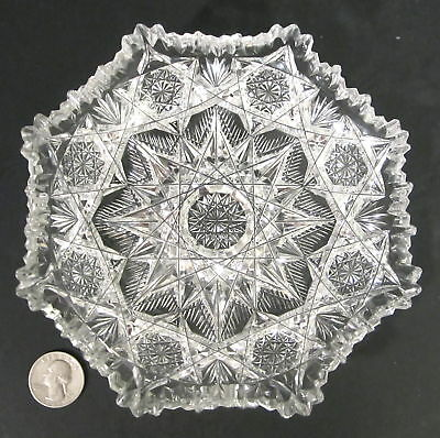 """AMERICAN BRILLIANT Cut Glass Heavy Well Cut Glass 6.5"""" Crimped Plate Bowl ABP"""