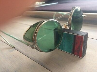 Very Old Sun Glasses Made from Glass slight curve metal frame original steampunk