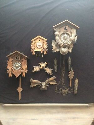 Cuckoo Clocks And Parts, German With Weights and Pendulums Not Working