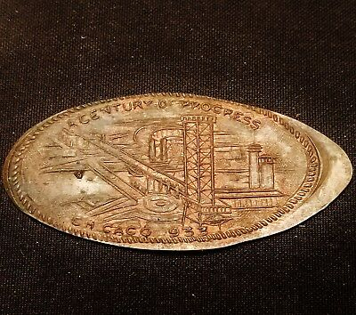 1933 Chicago World's Fair Century of Progress Elongated Penny on 1918 Cent