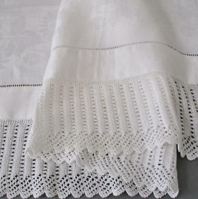 "Vintage Irish LINEN Damask Large 46"" Towel DAISIES HM Crochet LACE + Drawnwork"