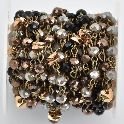 1yd Gray Crystal Rosary Chain, bronze, black, gold heishi beads, 6mm fch0816a