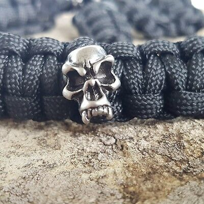 Archery Bow Sling 550 Paracord Black with Pewter Fang skulls + 3 zipper pulls