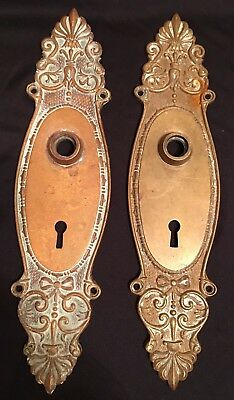 Pair Art Nouveau Victorian Eastlake Key Hole Lock Brass Door Plates Bow Flora
