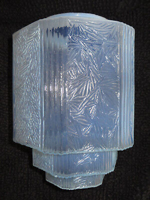 Large Antique Art Deco Ice Blue Opalescent Glass Skyscraper Ceiling Shade 13""
