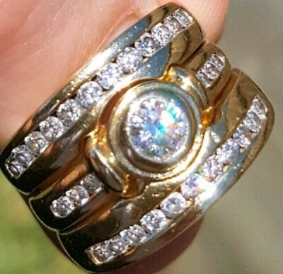 $10000 Val 1.22ct G Colour SI 3 Ring 18k Gold Diamond Engagement Wedding set
