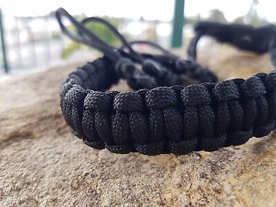 Archery Bow Sling 550 Paracord Black  + 3 zipper pulls