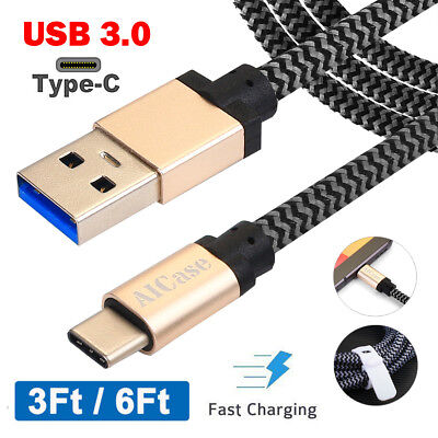Braided Type-C USB 3.0 3A Fast Charger Cable Data Sync Cord F Samsung Note 8 S8+