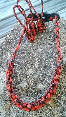 Archery Bow Sling 550 Paracord Black & Red camo +3 zipper pulls