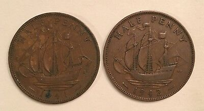 Great Britain (UK) Half Penny Coins - 1941, 1942